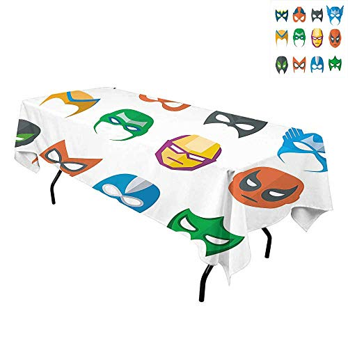 Superhero,Table Cover Spillproof Tablecloth,Hero Mask Female Male Costume Power Justice People Fashion Icons Kids Display,for Kitchen Dining Party,W54 x L90 Inch Multicolor