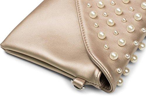 styleBREAKER Envelope Clutch im Kuvert Design mit großen und kleinen Perlen, Abendtasche, Damen 02012217, Farbe:Hellblau Perlmutt