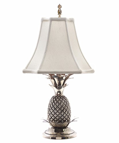 Brass White Shade Pineapple - LAMPS - WILLIAMSBURG PINEAPPLE TABLE LAMP - PEWTER FINISH WITH OFF WHITE SHADE