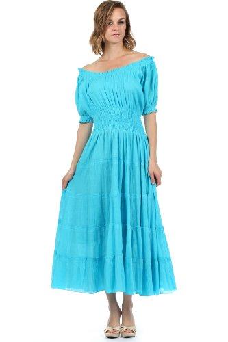 (Sakkas 3702 Cotton Crepe Smocked Peasant Gypsy Boho Renaissance Dress - Turquoise/One Size)