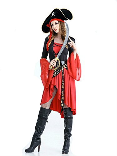 Women halloween Pirate costume captain cosplay dress 1358 (Halloween Costume Female Pirate)
