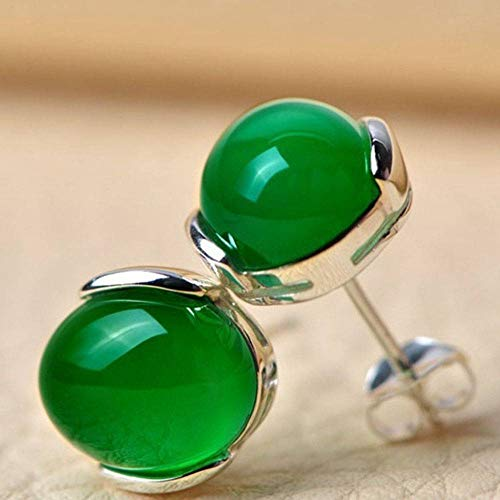 Silver Agate Earrings Genuine Silver Stud Earrings with Green Agate Stone Sales (Stone Agate Green)