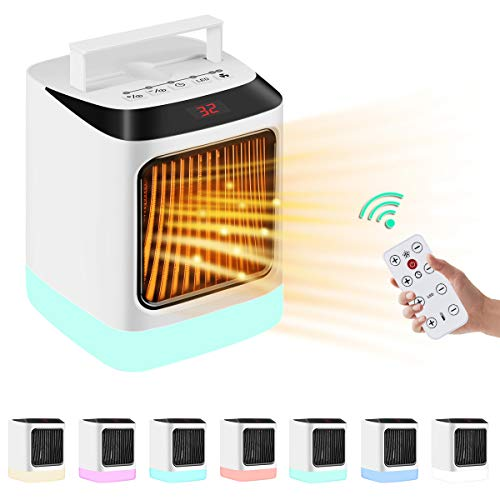 Electric Space Heater Small Indoor 1000W Portable Ceramic Heaters For Office Use,Desktop,Bathroom,with Remote Control,Adjustable Thermostat,7 Color LED Light and Timing Function