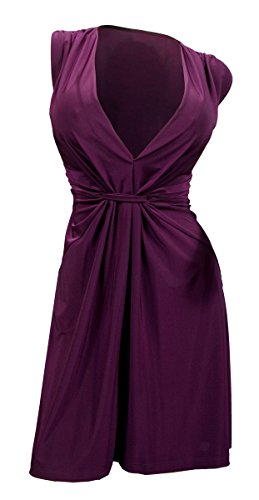 eVogues Plus Size Sexy Purple Low Cut V-Neck Mini Dress - 2X