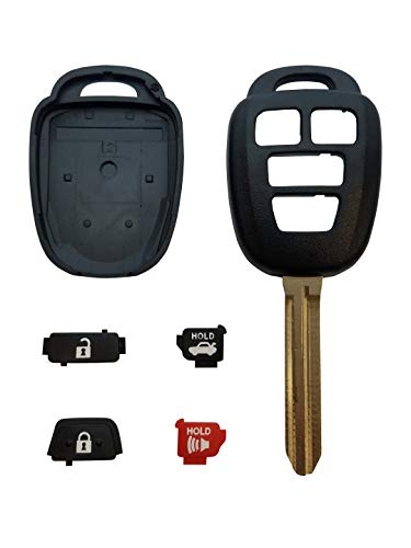 REMOTE STORE New 4 Button Replacement Shell, Buttons & Duracell Battery Replacement for Toyota Remote Key Head