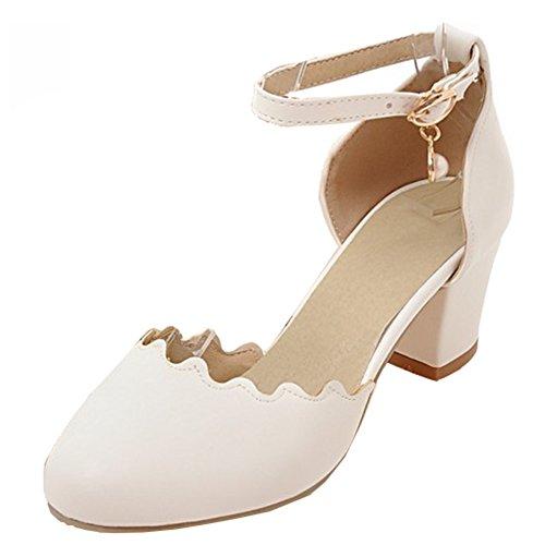 Aisun Womens Round Closed Toe Dressy Buckled Elegant Block Mid Heels Ankle Strap Sandals Shoes White KnJYuZ4