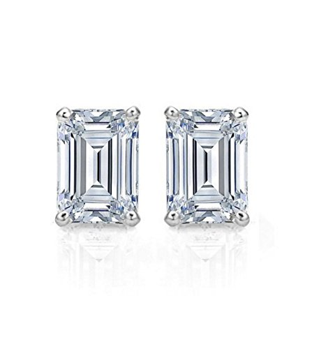 Radiant Cut Earrings - 2.20 CT Emerald Cut Simulated Diamond Solitaire Stud Earrings in 14k White Gold Screw Back