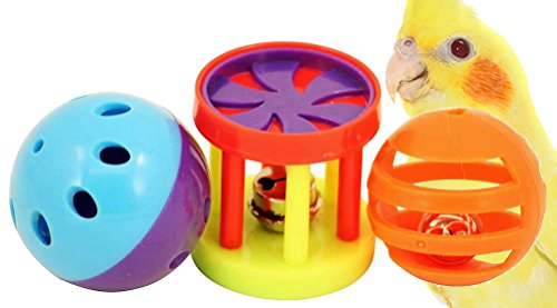 (Bonka Bird Toys 1195 Play Three Foot Toy Ball Cockatiel Parakeet cage Parrot cat parrotlet (Play 3 Foot Toys))