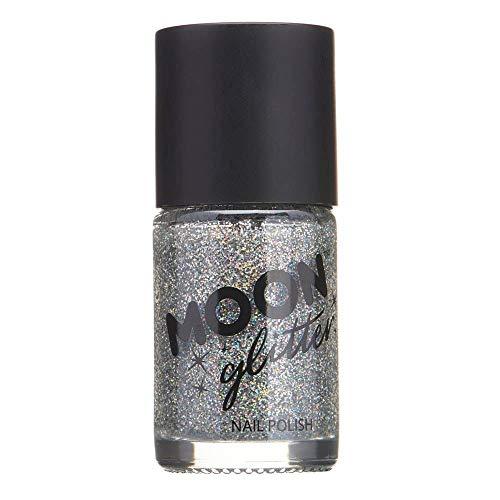 Moon Glitter Holographic Nail Polish, Silver, Single, 14ml (Best Nail Polish Remover Uk)