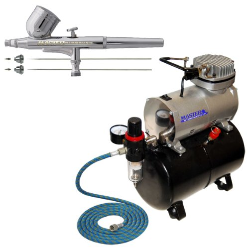 - Gravity Feed Multi-Purpose Airbrushing System Kit with a Pro Set G222 Master Airbrush with 3 Nozzle Sets (0.2, 0.3 & 0.5mm Needles, Fluid Tips and Air Caps) - Powerful Compressor with Air Storage Tank