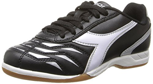 Diadora Capitano ID JR Indoor Soccer Shoe, Black/White, 3.5 M US Big Kid by Diadora