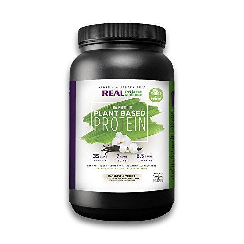 Real Pro Life Nutrition NEW Plant Based Protein, Vanilla, 35g Protein, 22 Servings, 7g BCAA's, 6.5g Glutamine, 2.4lbs (1080g) (Powder Grams Glutamine)