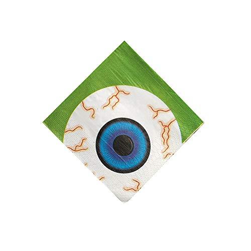 Fun Express - Eyeball Beverage Napkin (16pc) for Halloween - Party Supplies - Print Tableware - Print Napkins - Halloween - 16 Pieces -