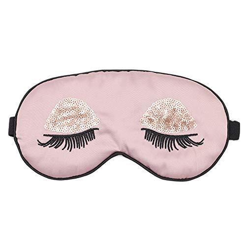 - ACTLATI Silk Sleep Eye Mask Sequin Eyelashes Blindfold with Elastic Strap Soft Eye Cover for Night Sleeping, Travel, Nap Purple