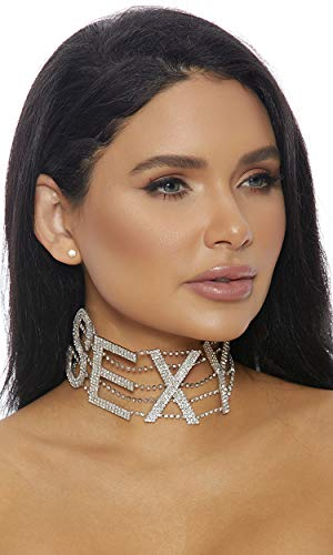 Forplay Women's Sexy Rhinestone Choker, Silver, O/S - Forplay Rhinestone Necklace
