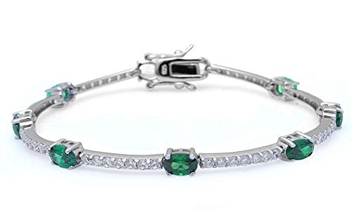 Sterling Silver Simulated Gemstone Cubic Zirconia Bracelet Colors Available