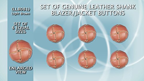 (Set of 6 (One Size) Genuine High Quality Leather Shank Blazer/Jacket Buttons (Light Brown) LLB081 (ø20.5mm in)