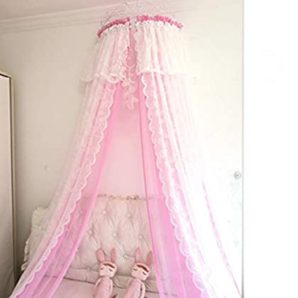 Image of GE&YOBBY Lace Bed Canopy,Princess Double Mesh Bed Curtain with White Metal Crown for Bedding Decoration-e Full Home and Kitchen