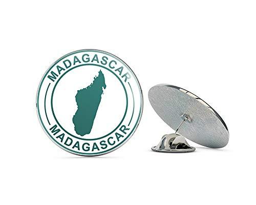 "Leyland Designs Madagascar Map Rubber Stamp Metal 0.75"" Lapel Hat Pin Tie Shirt Backpack Tack Pinback"