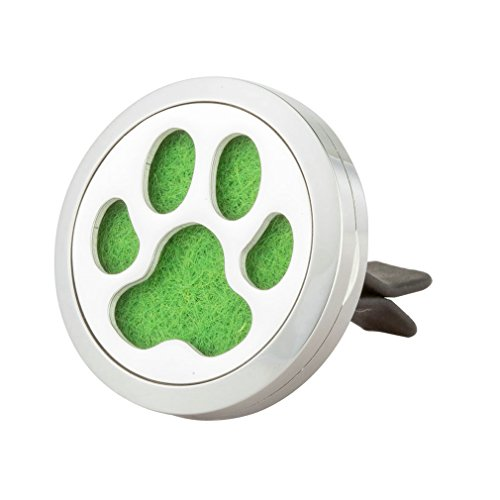 Aromatherapy Car Air Freshener - 'Paw Dog' Design Stainless Steel Locket - Best Essential Oil Diffuser For Men & Women - Perfect Christmas Gifts For Family, Friends,Brother