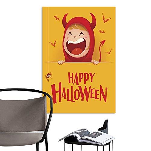 UHOO Linen Art Prints PicturesHappy Halloween Red Devil Demon with Big Signboard Yellow Background .jpg Wall Art for Bedroom Living Room -