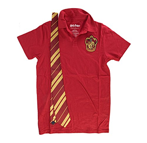 Harry Potter Gryffindor Red Costume Uniform Polo with Tie (Small) (Harry Potter Uniform Shirt)