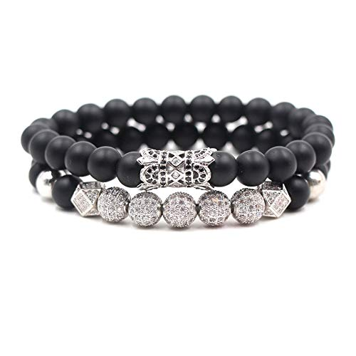 SEVENSTONE 2PCS Black Matte Onyx Prayer Beads Bracelet for Men Women Elastic Natural ()