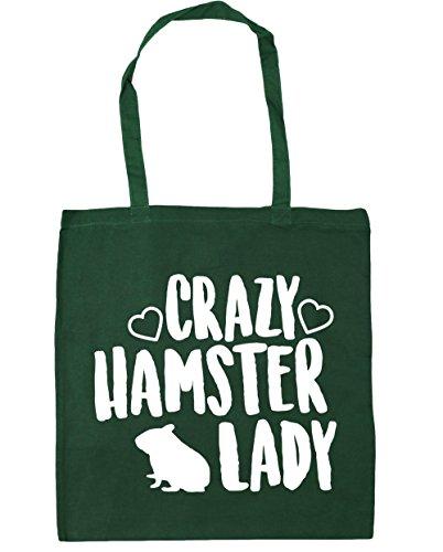 HippoWarehouse Crazy hamster lady Tote Shopping Gym Beach Bag 42cm x38cm, 10 litres Bottle Green