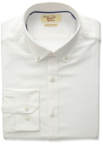 Original Penguin Men's Slim Fit Button Down Collar Oxford Dress Shirt, White, 15.5 32/33 by Original Penguin