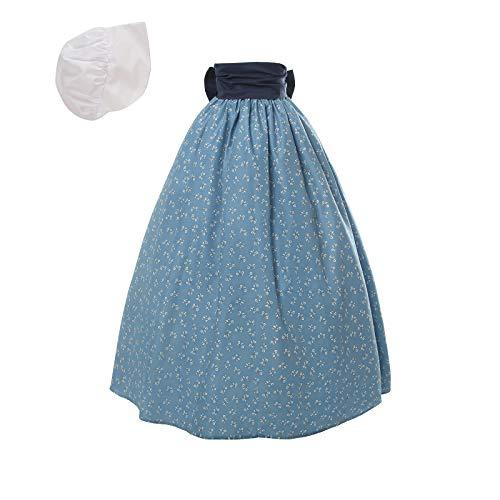 NSPSTT Women Pioneer Colonial Skirt Girls Peasant Prairie Skirt Civil War Trek Floral Costume Blue