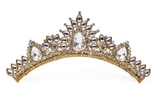 storeindya Tiara Crown Fashion Gifts for Women, Costume Jewelry Prom Queen Bridal Pageant Birthday Princess Headband Gold Diamonds Comb Pin Rhinestone Faux Crystal (White -