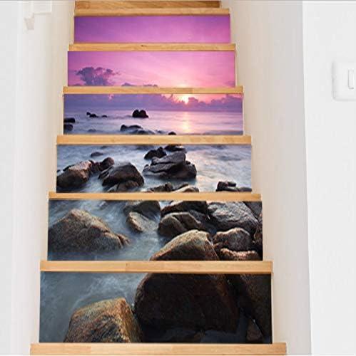 Yfxgstli Landschaft Unter Der Untergehenden Sonne Am Meer Treppen Dekoration 3d Aufkleber Kunst Pegatinas De Pared Home Decor 6 Teile Satz 18 Cm X 100 Cm Amazon De Kuche Haushalt