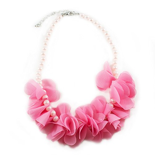Diy 20's Flapper Costume (FRILLS Hot Pink Petal Faux Pearl Necklace for Girls)