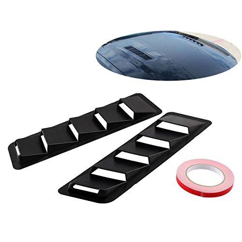 (Andyshi Air Flow Intake Universal Scoop Bonnet Side Fender Car Decorative Cover Hood Vent Louver Cooling Panel Trim Set Matte Black ABS Plastic)