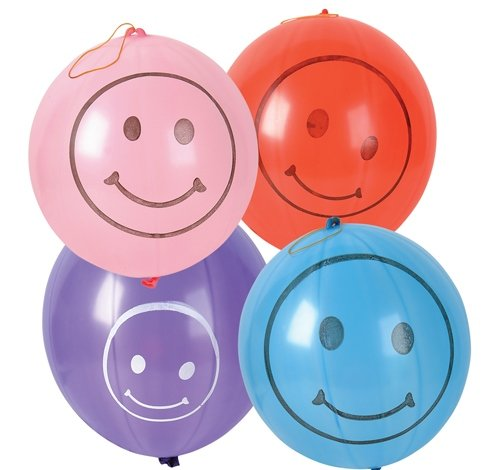 50 PC 9'' SMILELY FACE PUNCH BALL, Case of 10