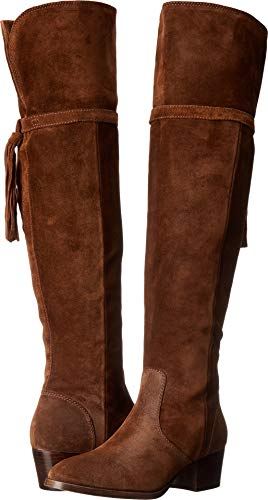(FRYE Women's Clara Tassel OTK Slouch Boot, Wood, 8.5 M US)