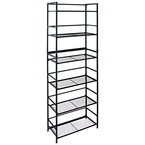 Flipshelf-Folding Metal Bookcase-Small Space Solution-No Assembly-Home, Kitchen, Bathroom And Office Shelving-Black, 6 Shelves, Wide (Bookcase Shelf 6 Metal)