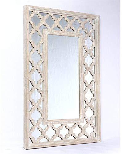 Emerald Home Furnishings Canterwood Whitewash Mirror with Lattice Detailing (Mirror Lattice)