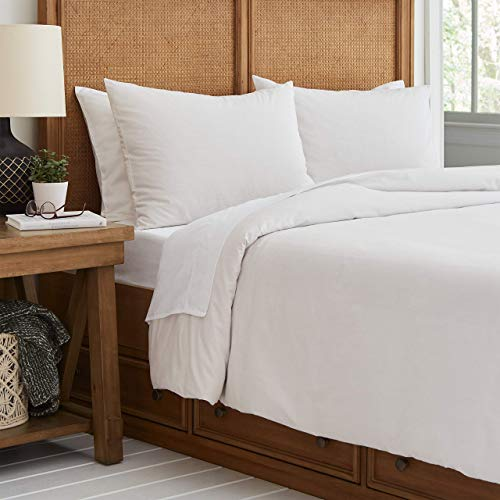 Stone & Beam Classic Pinstripe Duvet Cover, Full/Queen, Gray/White