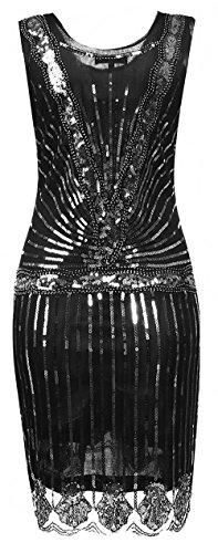 Tiefer Zurück Pailletten Flapper Kleider OURS Perlen Abendkleid V Silber 1920er Damen Gatsby w1qgFOXx7