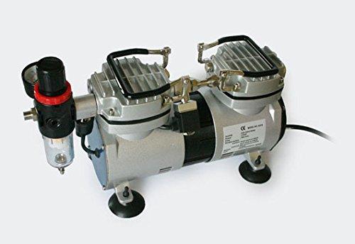 Compressore per aerografo AS19, 2 Cilindri 2 Pistoni Separatore dell'acqua Riduttore di pressione WilTec