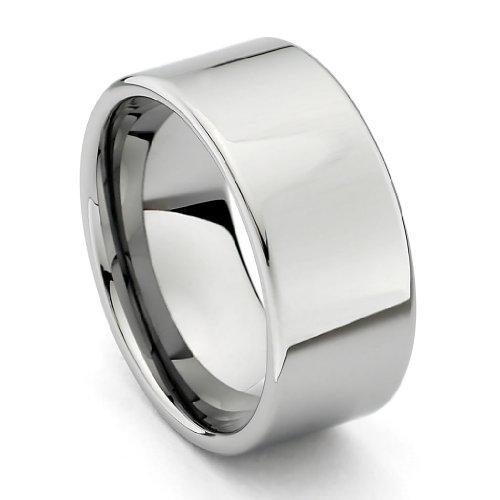 10mm Flat Men's Tungsten Wedding Band - Size - 10 Mm Mens Tungsten Wedding Bands