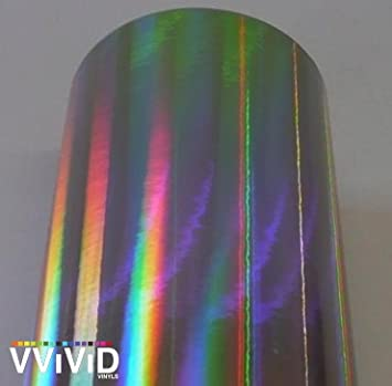 3ft x 5ft VViViD/® Black Holographic Chrome Vinyl Wrap Rainbow Finish Roll DIY Air-Release Adhesive Film