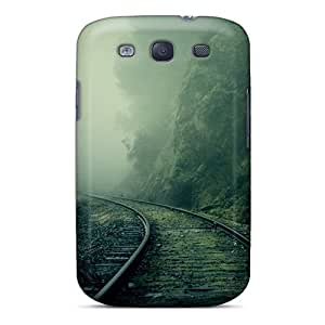 Ajephke Case Cover For Galaxy S3 - Retailer Packaging Foggy Train Tracks Forest Protective Case