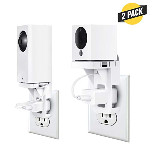 Wasserstein AC Outlet Mount Compatible with Wyze Cam and Wyze Cam Pan - Reliable mounting Alternative for Your Wyze Cameras (2 Pack, White)