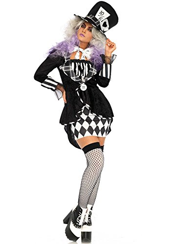 Leg Avenue Women's Wonderland Black and White Mad Hatter Costume, Medium/Large -