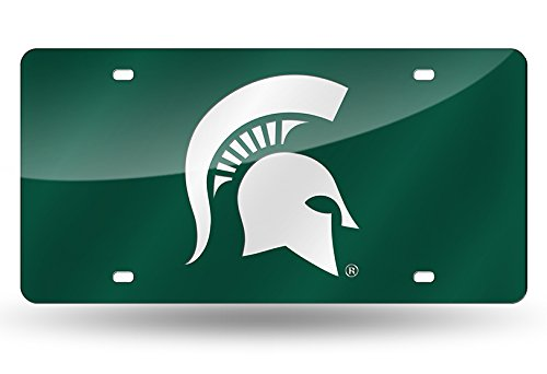 (Rico Industries NCAA Michigan State Spartans Laser Inlaid Metal License Plate Tag, Green, 6