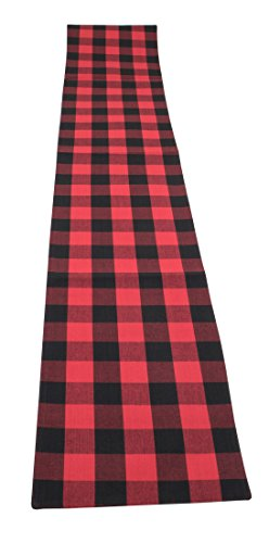 C&F Home Franklin Buffalo Check Gingham Plaid Woven Black and Red Patriotic 4th of July Memorial Day Labor Day Table Runner 13x72 red ()