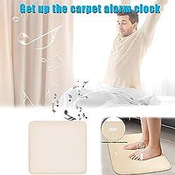 CerisiaAnn Smart Rug Alarm Clock, Pressure Sensitive Carpet Alarm Clock with LED Digital Display for Worker Student Creative Gift, 40x40cm