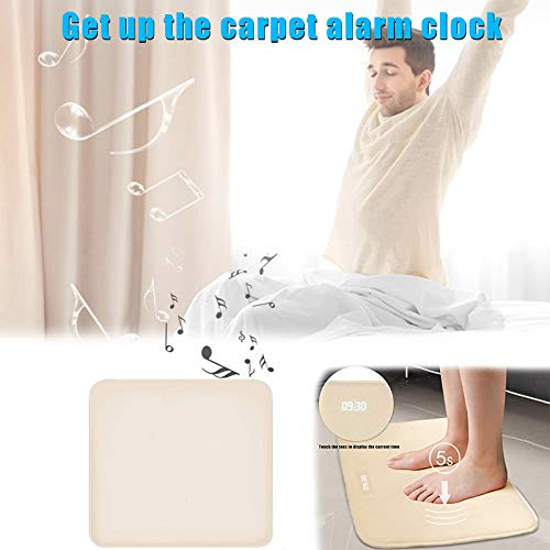 CerisiaAnn Smart Rug Alarm Clock, Pressure Sensitive Carpet Alarm Clock with LED Digital Display for Worker Student Creative Gift, 40x40cm